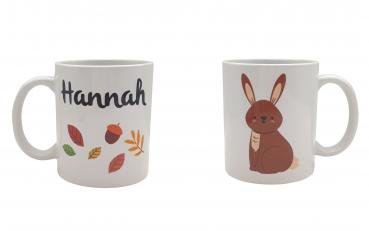Tasse Herbst -Hase - Wunschname